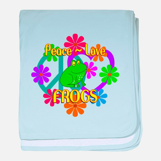 Peace Love Frogs baby blanket