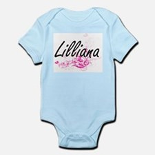 Lilliana Artistic Name Design with Flowe Body Suit