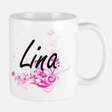 Lina Artistic Name Design with Flowers Mugs