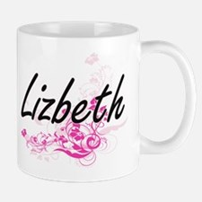 Lizbeth Artistic Name Design with Flowe Mugs
