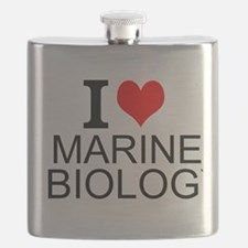 I Love Marine Biology Flask