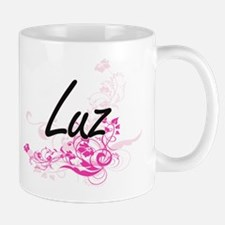 Luz Artistic Name Design with Flowers Mugs