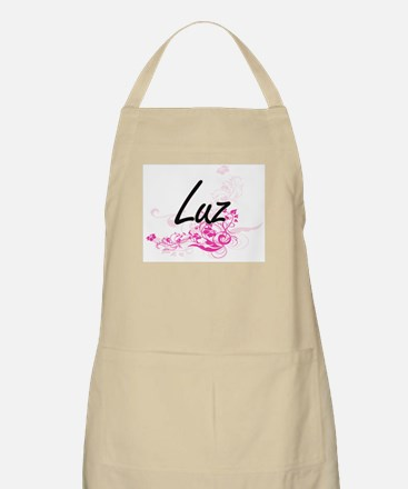 Luz Artistic Name Design with Flowers Apron