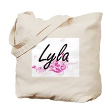 Lyla Artistic Name Design with Flowers Tote Bag