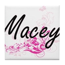 Macey Artistic Name Design with Flowe Tile Coaster
