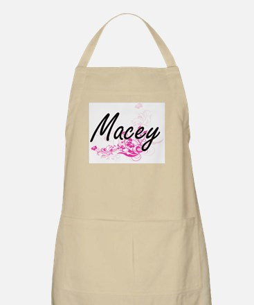 Macey Artistic Name Design with Flowers Apron