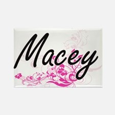 Macey Artistic Name Design with Flowers Magnets