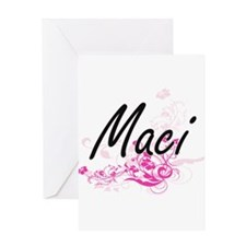 Maci Artistic Name Design with Flow Greeting Cards