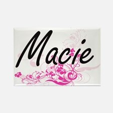 Macie Artistic Name Design with Flowers Magnets