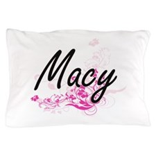 Macy Artistic Name Design with Flowers Pillow Case