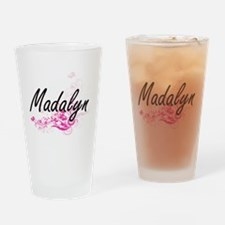 Madalyn Artistic Name Design with F Drinking Glass