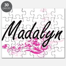 Madalyn Artistic Name Design with Flowers Puzzle