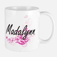 Madalynn Artistic Name Design with Flowers Mugs