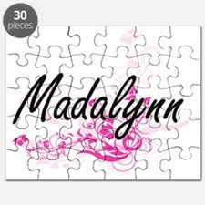 Madalynn Artistic Name Design with Flowers Puzzle