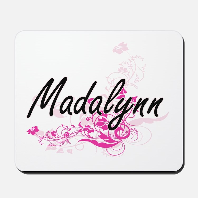 Madalynn Artistic Name Design with Flowe Mousepad