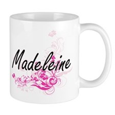 Madeleine Artistic Name Design with Flowers Mugs