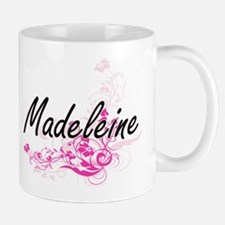 Madeleine Artistic Name Design with Flowers Mugs