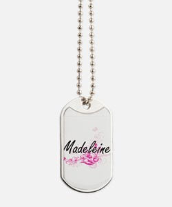 Madeleine Artistic Name Design with Flowe Dog Tags