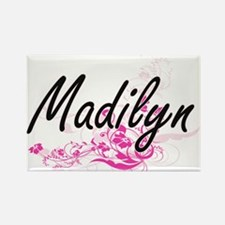 Madilyn Artistic Name Design with Flowers Magnets