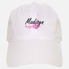 Madisyn Artistic Name Design with Flowers Baseball Baseball Cap