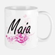 Maia Artistic Name Design with Flowers Mugs