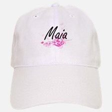 Maia Artistic Name Design with Flowers Baseball Baseball Cap