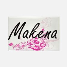 Makena Artistic Name Design with Flowers Magnets