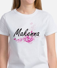 Makenna Artistic Name Design with Flowers T-Shirt