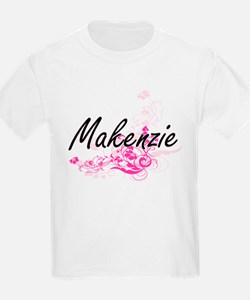 Makenzie Artistic Name Design with Flowers T-Shirt