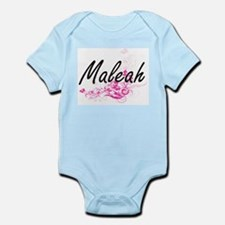 Maleah Artistic Name Design with Flowers Body Suit