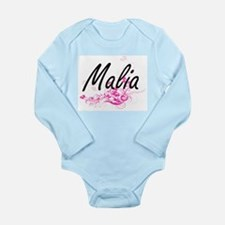 Malia Artistic Name Design with Flowers Body Suit