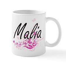 Malia Artistic Name Design with Flowers Mugs