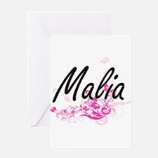 Malia Artistic Name Design with Flo Greeting Cards