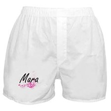 Mara Artistic Name Design with Flower Boxer Shorts