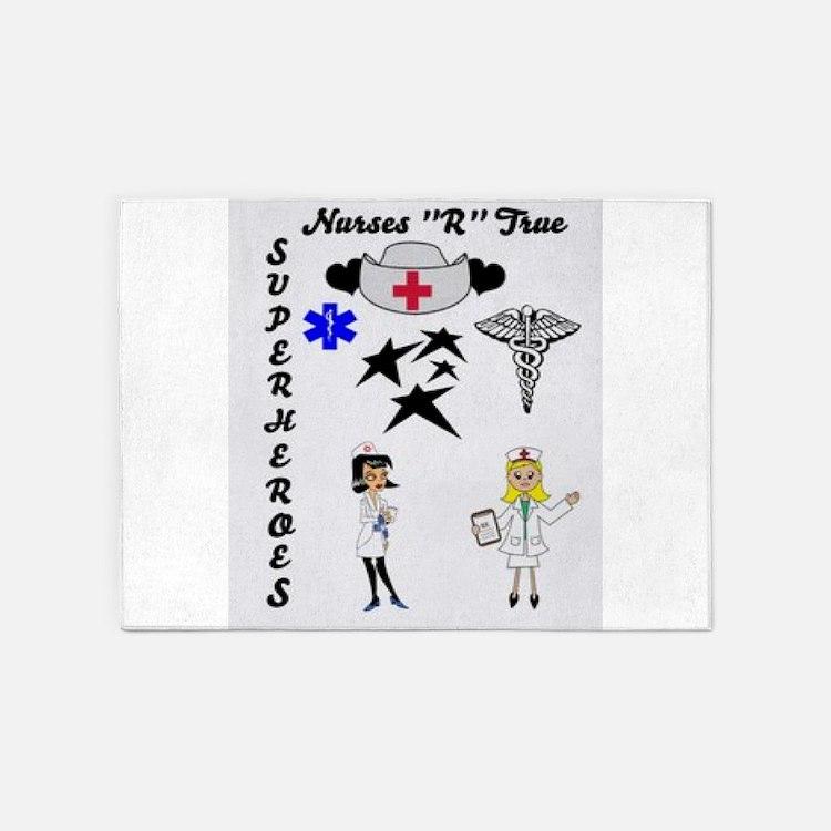 Nurses Are Superheroes 5'x7'Area Rug