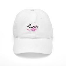 Marisa Artistic Name Design with Flowers Baseball Cap