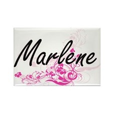 Marlene Artistic Name Design with Flowers Magnets