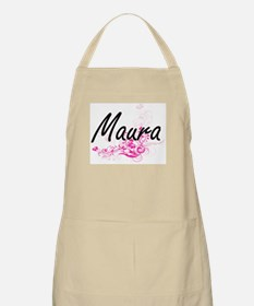 Maura Artistic Name Design with Flowers Apron