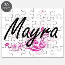 Mayra Artistic Name Design with Flowers Puzzle