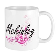 Mckinley Artistic Name Design with Flowers Mugs