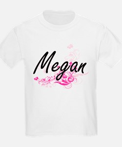 Megan Artistic Name Design with Flowers T-Shirt
