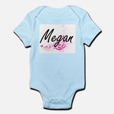 Megan Artistic Name Design with Flowers Body Suit