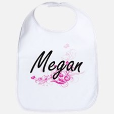 Megan Artistic Name Design with Flowers Bib