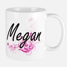 Megan Artistic Name Design with Flowers Mugs