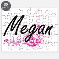 Megan Artistic Name Design with Flowers Puzzle