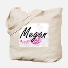 Megan Artistic Name Design with Flowers Tote Bag