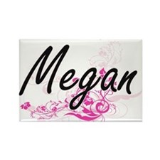 Megan Artistic Name Design with Flowers Magnets