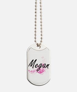 Megan Artistic Name Design with Flowers Dog Tags