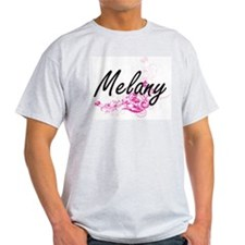 Melany Artistic Name Design with Flowers T-Shirt