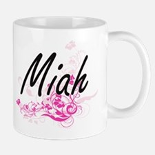 Miah Artistic Name Design with Flowers Mugs